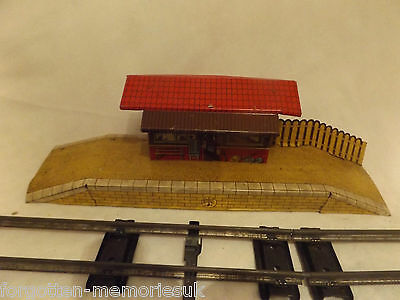 VINTAGE TINPLATE MODEL RAILWAY STATION by BRIMTOY - GOOD CONDITION