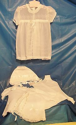 Vintage Lot of WHITE BABY CLOTHES, SLIP, GOWN, BONNET, JACKET