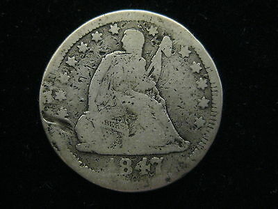 1847 Seated Liberty Quarter 25 Cent Coin