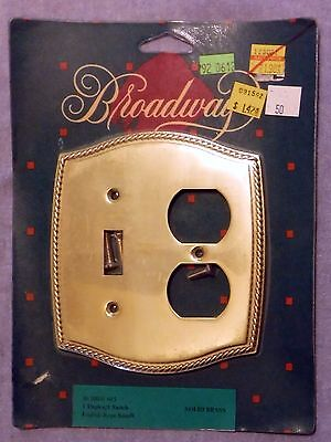 Vintage NOS Broadway 2 Gang 1 Duplex 1 Switch Solid Brass Cover Plate Engl Rope