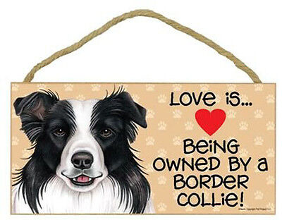 """Love is Being Owned by Border Collie Sign Plaque dog 10"""" x 5"""" pet gift"""