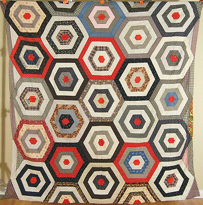OUTSTANDING Vintage 1890's Antique Target Spider Web Antique Quilt Top ~VIBRANT!