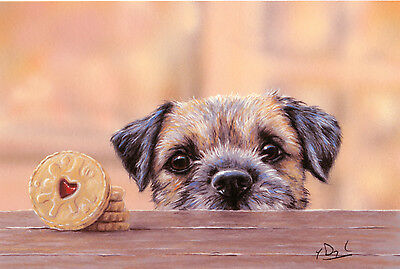 """BORDER TERRIER DOG FINE ART LIMITED EDITION PRINT - """"Tempted"""""""