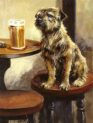 """BORDER TERRIER DOG FINE ART PRINT - by the late Mick Cawston - """"Last Orders"""""""