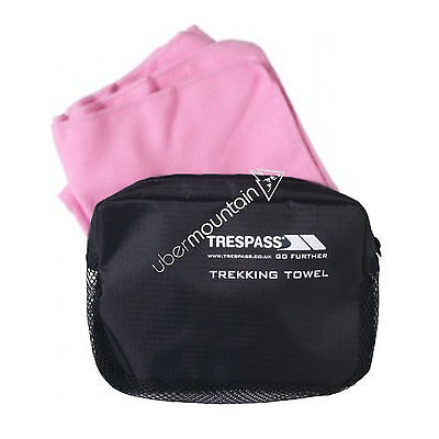 Trespass Soaked Camping Outdoors Microfibre Gym Sports Towel Pink 45cm X 90cm