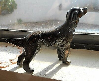 "Vintage Irish Setter Bronze Statue Fine Detail LG size 8"" long heavy 80 Yrs old"