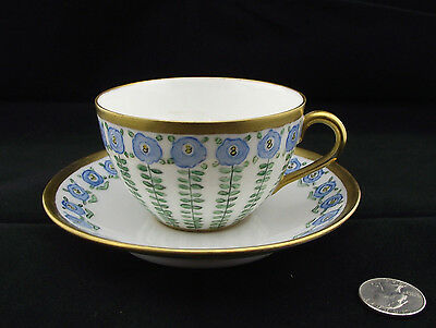 Stunning Hand Painted Victorian Cabinet Tea Cup And Saucer Signed Blue And Green