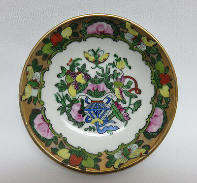 """Vintage Chinese Canton Famille Rose Porcelain Small Dish / Ashtray ~ 4""""  XLNT."""