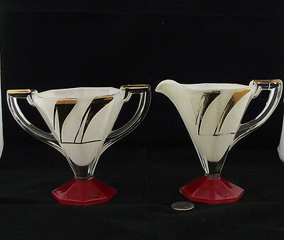 Stunning Art Deco Cream And Sugar Octagon Shape Red Clear White And Gold Trim