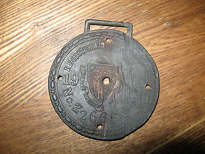 Antique 1910 – 1914  Mass Motorcycle Registration FOB or Tag…  Z 2665...Rare!!