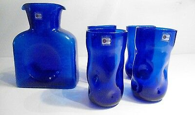 Vintage Blenko Pitcher / Decanter + 4 Drinking Glasses Blue Beautiful Condition