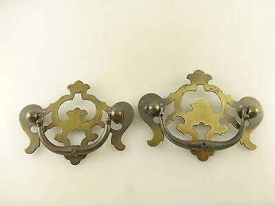 2 Vintage Brass Tone Drawer Pulls with Back Plates Architectural Salvage ***