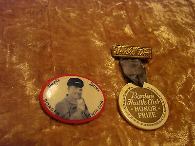 Vintage Uncle Don's Borden's Health Club Pin & Honor Prize Ribbon Pin