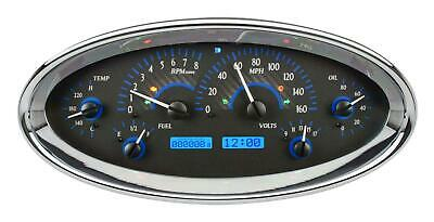 Dakota Digital Universal Oval Analog Gauges Carbon Fiber Blue VHX-1017-C-B