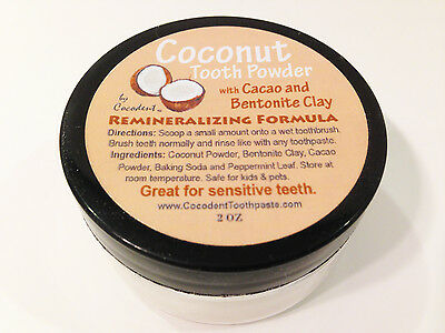Coconut Tooth Powder for Sensitive Teeth with Bentonite Clay & Cacao - All Vegan