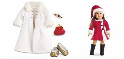 American Girl Fancy White Holiday Coat Accessories & Santa Dress Outfit New