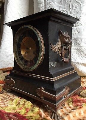 Antique French Egyptian Revival Mantle Clock Slate & Bronze G. Servant Anubis