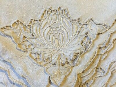 Gorgeous Antique Madeira Hand Embroidery Cutwork 5 Pce Set Table Napkins Floral
