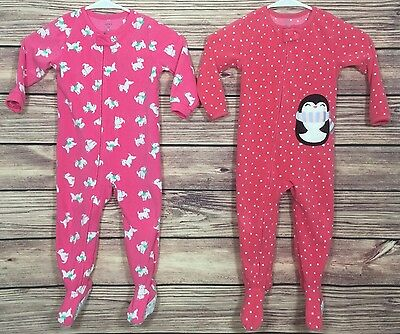 Carter's Winter Footed Pajamas Sleepers Size 2T LOT OF 2