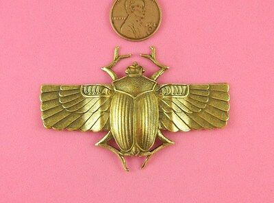 Vintage Design Ant Brass Large Scarab W/extended Wings - 1 Pc