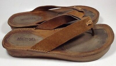Michael Kors Brown Leather Slip On Wedge Women's Sandals Shoes Sz 7M