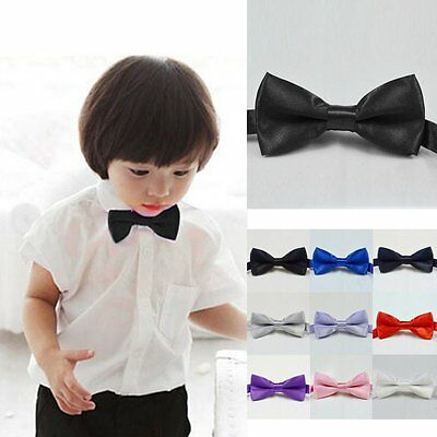 Toddler Boys Kids Wedding Satin Bow Tie New Solid Bowtie Pre Tied For Party