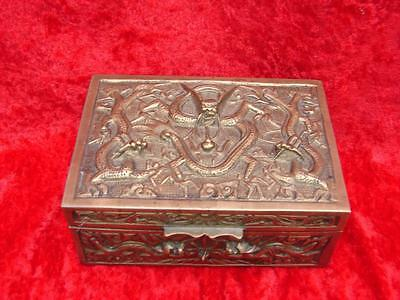 Brass Chinese Box Early 20th Century Period Flying Dragons Sandalwood Lined