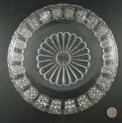 Anitque Eapg Shallow Patterned Glass Pie Plate Or Serving Dish
