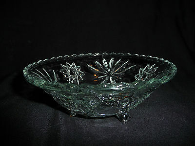 Vintage Glass Three Footed Crystal Colored Candy Dish