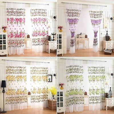 NEW Chic Floral Tulle Voile Door Window Curtain Drape Panel Sheer Scarf Divider