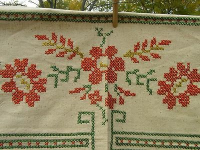Antique Vintage Hand Embroidered Tablecloth Colorful Floral Graphic Cross Stitch