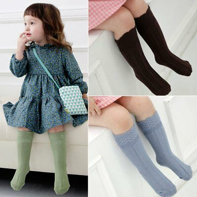 Chic New Kids Boy Girl Knee High Socks Toddler Cotton Lace Soft Stockings Tights
