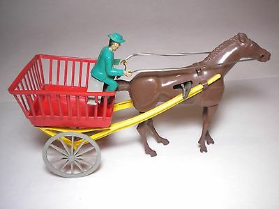 Mid Century Wind Up Mechanical Plastic Farm Wagon Toy By Wolverine In Vg Cond.