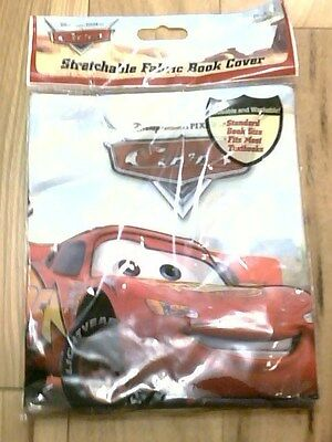 """Disney """"CARS"""" Stretchable Fabric Book Cover New in Package! Reusbale & Washable"""