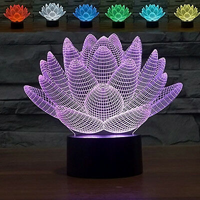 3D Optical Illusion Lotus Flower Night Touch Switch LED Desk Table Light Lamp