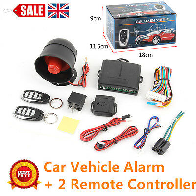 Car Vehicle System Keyless Entry Siren Alarm Protection Security Set +2 Remote