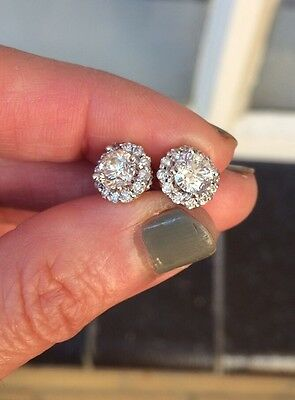Genuine Diamond Studs Hallo Earrings Approx 1,5 Carats TDW In 14k White Gold!