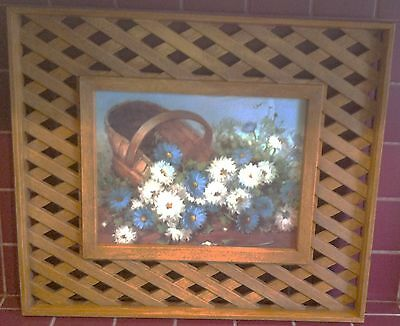 HOMCO PLASTIC Wood Lattice Frame w/ L. Sherman Painting - BURWOOD PRODUCTS