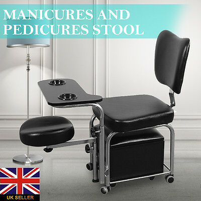 New Adjustable Manicure Pedicure Stool Nail Station Beauty Chair w/Drawer