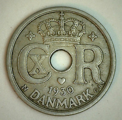 1930 Denmark 25 Ore Coin Currency VF