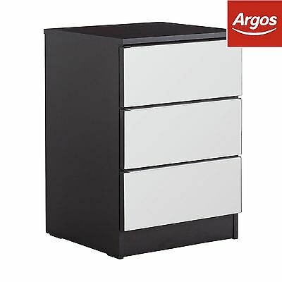 HOME Sandon 3 Drawer Bedside Chest - Black and Mirrored:The Official Argos Store