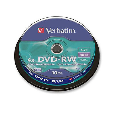 Verbatim 43552 4.7GB DVD-RW - Pack of 10 Spindle Discs  ReRecordable ReWriteable