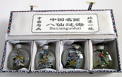 Miniature Glass Chinese Scent / Snuff Bottles - Set of 4 boxed - exclusive gift