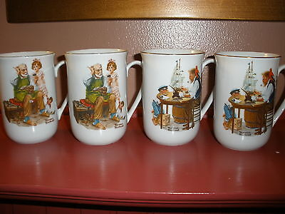 """NORMAN ROCKWELL MUSEUM -FOUR1982 Collector Mugs """"The Cobbler"""" """"For A Good Boy"""""""