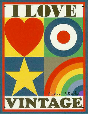 I Love Vintage - limited edition tinplate by Sir Peter Blake