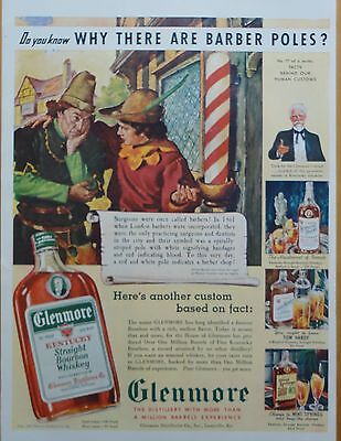 1939 ORIG. PRINT AD GLENMORE KENTUCKY BOURBON why are there barber poles?