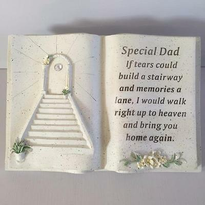 New SPECIAL DAD Memorial Stone Garden Grave Book Ornament STAIRWAY TO HEAVEN
