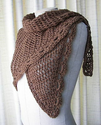 Cocoa Hand Knit Brown Shawl Triangle Scarf in Soft Luxurious  WOOL blend yarn
