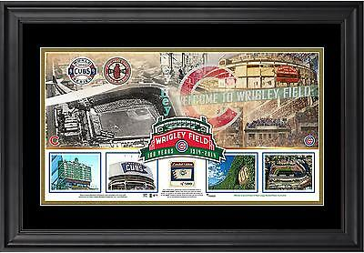 MLB Chicago Cubs Wrigley Field 100th Anniversary Framed Panoramic w/Game Ball-LE