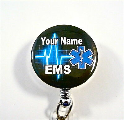 Ems/star Of Life Id Badge Retractable Reel,medical,heartbeat,ambulance,student,